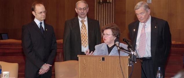 Barbara Mikulski speaking with fellow advocates at Alzheimer's Press Conference