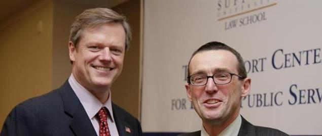 Charlie Baker speaking at a Gubernatorial Speaker Series event