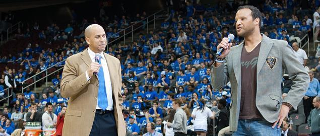 Stephen Bienko and Newark Mayor Cory Booker at a Seton Hall University Basketball Game