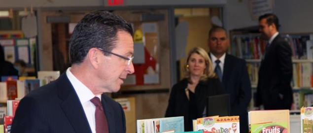 Governor Dannel Malloy speaks during Secretary Vilsack's visit to the Henry A. Wolcott Ele