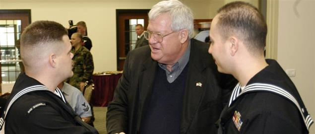 Dennis Hastert greeting sailors assigned to Naval Air Station Sigonella