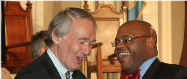 U.S. Representative Ed Markey and incoming U.S. Senator William Mo Cowan