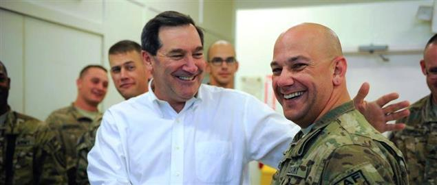 United States Senator Joe Donnelly with U.S. Military members in Afghanistan