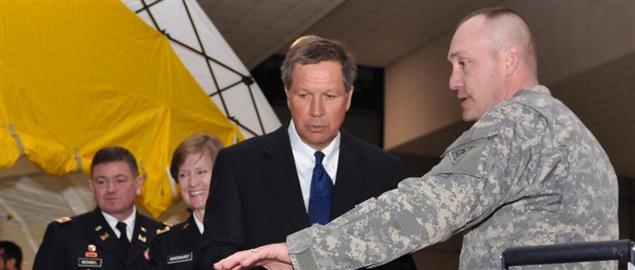 John Kasich being shown the capabilities of Ohio's Homeland Response Force.