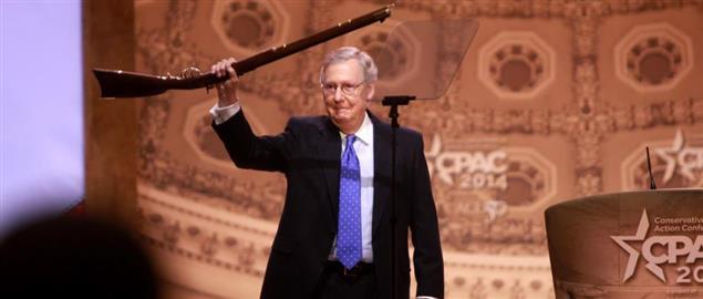 Mitch McConnell proudly standing for gun rights at CPAC 2014 in Washington, DC.