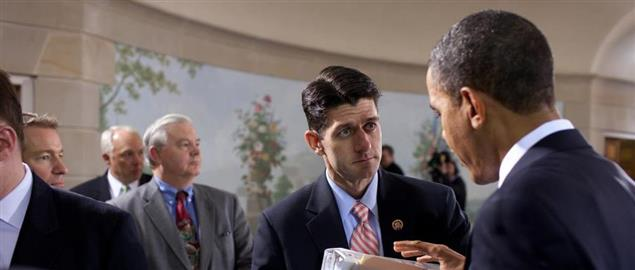 Ryan with President Obama during a bipartisan meeting on health insurance reform in 2010