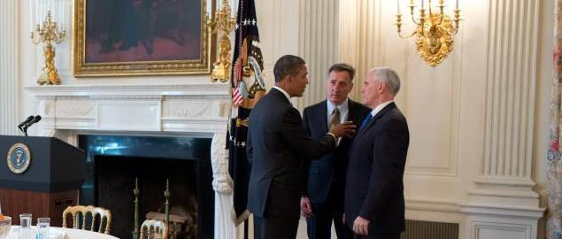 Barack Obama, Peter Shumlin, Mike Pence