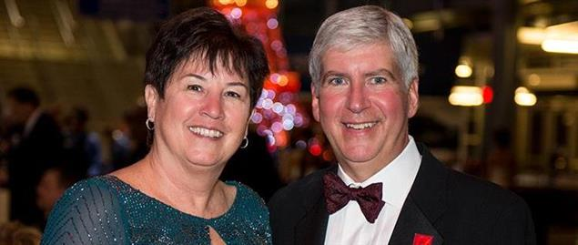Michigan Governor Rick Snyder with wife Sue Snyder.