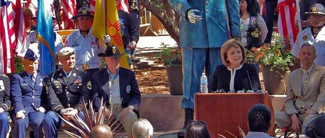 New Mexico Gov. Susana Martinez at Medal of Honor winner Leroy Petry statue unveiling