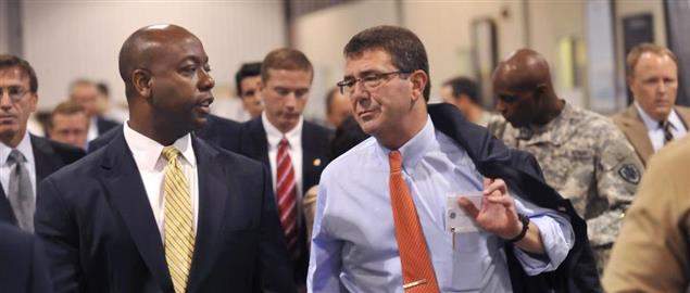 Tim Scott with Deputy Defense Secretary Ashton B. Carter in 2012