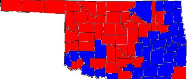 2004 US Senate election in Oklahoma results by county.